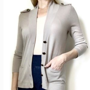 Theory Beige Cardigan Women's Small Button Details